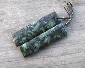 Fossil Earrings, Long Dangle, Organic Earrings, Green Stone, Plant Fossil, Oxidized Sterling Silver, Natural Earthy Jewelry