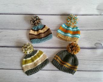 Newborn photo prop, newborn hat, newborn boy, newborn girl, knit newborn hat, newborn props, newborn hat pompom beanie, newborn boy beanie