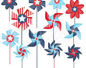 Patriotic Pinwheels Cute Clipart for Card Design, Scrapbooking, Pinwheel clip art, patriotic graphics, pinwheel clipart