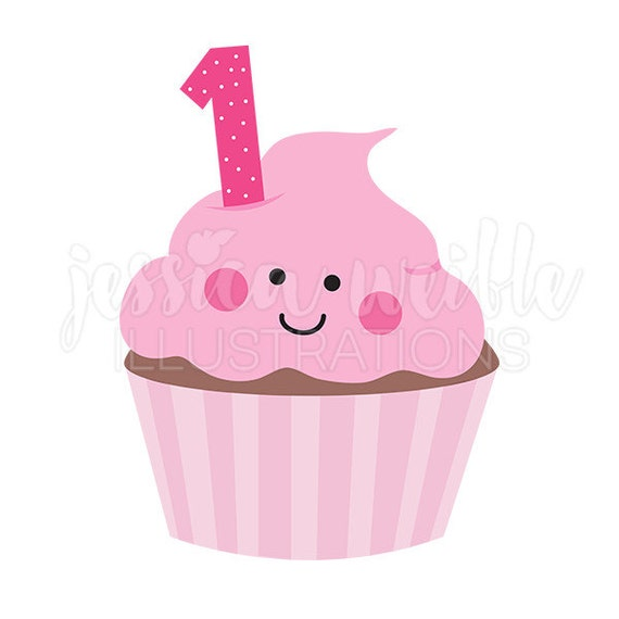 pink girls first birthday cupcake cute digital clipart cupcake clip rh catchmyparty com first birthday clip art images first birthday clipart girl