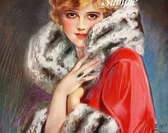 Earl Christy Elegant Lady Fabric Block or Canvas Paper Print, Home Decor, Wall Decor, Sewing Supplies, 8 x 10 inches or 5 x 7 inches