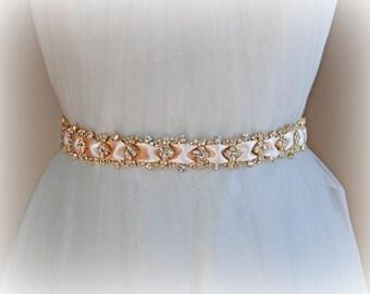 "Blush and Gold Crystal Skinny Sash, Narrow Bridal Sash, Gold Rhinestone Wedding Belt, 18.5"" on Pale Pink Satin Ribbon - PETIT AMOUR"