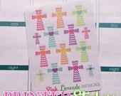 Pastel Patterned Crosses - printed kiss cut stickers for your planner or calendar - mini sampler sheet - MATTE