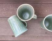 Rustic Drippy Moss Green Mug Cup 16 ounce Porcelain Ceramic Coffee Tea Gift Idea, Handmade Artisan Pottery by Licia Lucas Pfadt