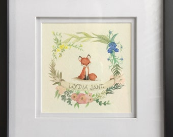 Commissionable Nursery/Kid's Room Watercolor Artwork with Name