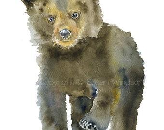 Black Bear Cub Watercolor Painting - 5 x 7 - Giclee Print - Nursery Art- Woodland Animal Nature Art