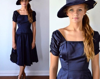 Vintage Navy Blue Satin Evening Dress, 1950s Satin Dress, Tea Length Evening Dress, Vintage 1950s Dress, Prom, Wedding, Formal