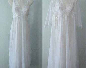 Vintage White Chiffon Peignoir Set, 1970s Peignoir Set, Vintage White Peignoir, Wedding, Bridal, Slumber Suzy, Chiffon Peignoir Set