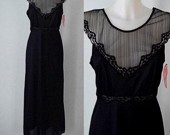 Vintage Black Nightgown, Vintage Nightgown, Vintage Nightgowns, Lov Lee, Black Nightgown, NWT, Romantic, Lingerie, Vintage Lingerie
