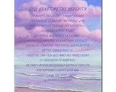 """Purple Ocean with Letter Wall Art Print 13"""" * 16"""" - The Words saying""""God, Grant me the serenity""""Print on wood /Canvas /Acrylic pa013"""