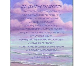 "13×17 in. Purple Ocean with Letters- Wall Art Print, the Words saying""God, Grant me the serenity""Print on wood, Wall Canvas art  pa013"