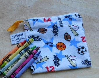 "Reusable Snack Sack, Mini Size - 5"" x 5""- Machine Washable, Zippered, EcoFriendly, Sports themed"