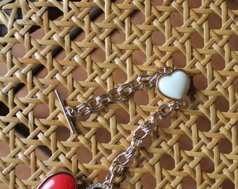 80s Heart Toggle Bracelet Novelty Red and White with rhinestones double link chain 7 1/2 inches