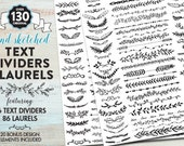 Hand Drawn Illustrated Text Dividers & Laurels - Digital Design Elements - Clipart for scrapbooking, websites, blogs, and graphic design.