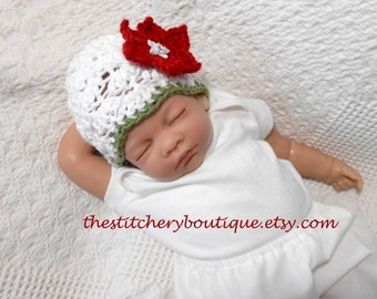 Sale  Baby girl Christmas hat coming home outfit photo prop hat christmas outfit white  newborn girl cloche ready to ship christmas photo