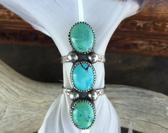 Turquoise Ring/ Gemstone Ring/ Sterling Silver Ring/ Native American Jewelry/ Turquoise Jewelry/ Size 7 Ring/ Stackable Ring/ OOAK/