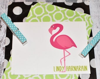 Flamingo Personalized Stationery - Personalized Note Cards - Personalized Stationary - Flamingo Note Cards - Set of Notes - Flaming Notecard