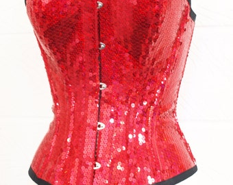 Red holographic sequin steel boned corset overbust pinup syle