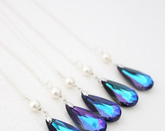 Purple Wedding, Purple Necklace, Peacock Necklace, Peacock Jewelry, Pearl and Crystal Necklace, Bridesmaid Necklace, Purple and Turquoise