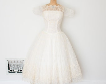 Vintage 50s Dress - 1950s Wedding Dress - The Celeste