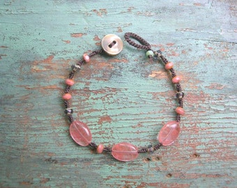 ON SALE surfer bracelet - Beach Festival! - boho jewelry, gemstones stackable bracelet, bohemian layering jewelry, knotted macrame bracelet