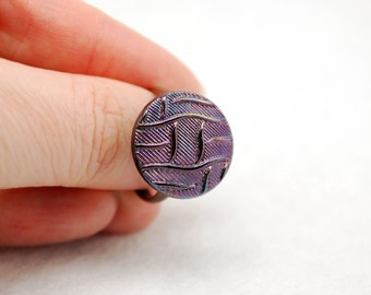Purple Basketweave Ring in Antique Copper - Vintage Glass Ring, Adjustable Ring, Limited Edition
