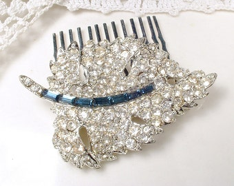 Vintage Wedding Sapphire Bridal Hair Comb, Art Deco Navy Blue Pave Rhinestone Leaf Hair Piece, Something Blue Old Small Clip Rustic Country