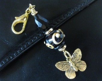 Antiqued Golden Butterfly, Lampwork, Black Crystal - Zipper Pull Purse Charm