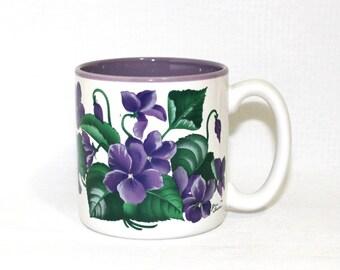 Purple Violets Coffee Mug - Jane Bowen Design - Item RC27