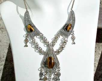 Silver Filigree Dangle Necklace Fish Tigers Eye Stones Ethnic Tribal Vintage Brown