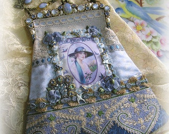 Antique Style Victorian Edwardian Romantic BLUE BIRDS Silk Purse  - Magnificent Jeweled Frame - Antique Lace Trims and Jewels