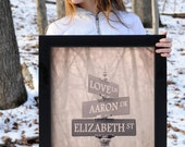 Personalized Street Sign Print, Valentine's Day Gift, Custom Decor, Bride and Groom Gift, Gift for Couple, Romantic Gift, Keepsake Art