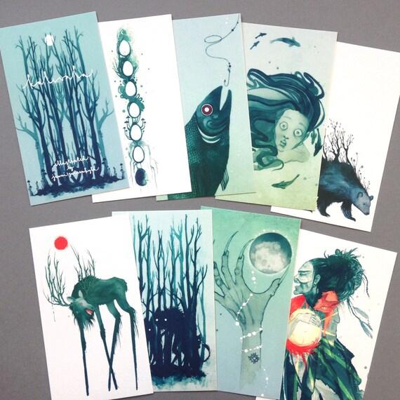 Set of 9 Folklore mini prints