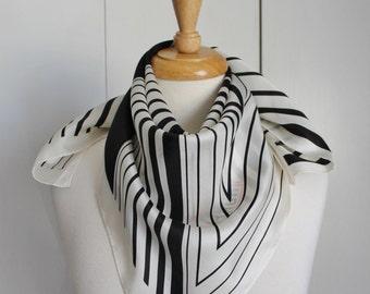 Vintage 80s Women's Black White Striped Norman Norell Designer Label Silk Scarf Summer Scarf
