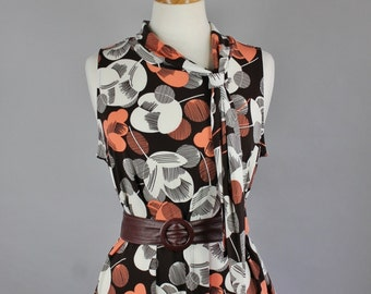 Vintage 70s does 20s Women's Brown Floral Art Deco Style Summer Sleeveless Knit Jersey Wear to Work Top Blouse