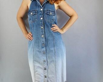 Ombre Denim Dress, Vintage 90s, Button Down, Spring, Summer, Festival, Halter, Rockabilly, Pinup, Viva las vegas, rocknroll, Size Medium