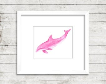 Pink Diving Dolphin Watercolor Print, Dolphin art, Pink Dolphin, Dolphin painting, Dolphin Watercolour print, Beach House Decor, Girl's Room