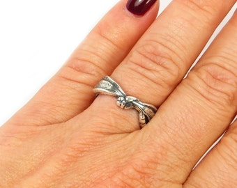 New Dragonfly Ring- Adjustable- Small Dragonfly Ring- Sterling Silver Ox or Brass Finish