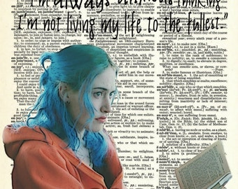 Upcycled Vintage Dictionary Art Print of Clementine from Eternal Sunshine of the Spotless Mind