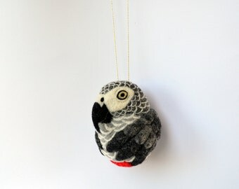 African Grey Parrot, needle felted bird, wool ornament ball