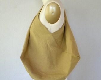 handmade goldenrod linen bento bag / Japanese furoshiki style bag and storage