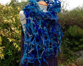 Felted wool scarf  blues teal grey gray - lacy cobweb felted wool - fiber art to wear lagenlook MADE TO ORDER