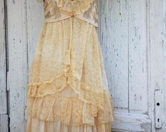 Dress, boho, gypsy, upcycled dress,lace dress, shabby chic, layers and frills, vintage romance, cream ruffle dress, jane austen,empire waist