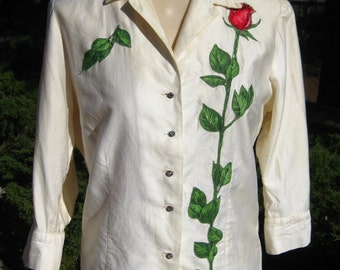 Vintage 50s Off White Cotton Rose Applique Button Up Blouse Top Shirt