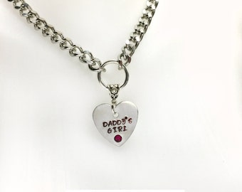 BDSM Day Collar Daddys Girl RED Swarovski RHINESTONE Engraved Necklace 316L Stainless Steel Chain Heart Padlock Closure or Lobster Clasp