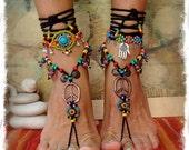 Hippie Boho PEACE sign BAREFOOT sandals Bikini Ibiza Sun Gypsy Sandals Crochet toe ankle wrap Toe thongs Black sandal Garden wedding GPyoga