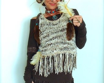 POCAHONTAS Fringe VEST beige shredded style Knitted Cropped Sweater Women Feather Top Nomad Gypsy Festival Wear Womens clothing GPyoga