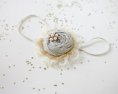 Sip of Bubbly-  champagne gold ivory rosette chiffon and lace flower headband