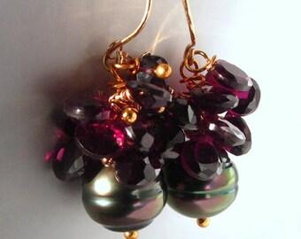 14K Solid Gold Tahitian Black Pearl Earrings, 14K Gold Tahitian Pearl Dangle Earrings