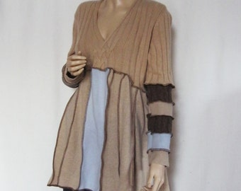 XL to 1X  Cashmere Tunic Sky and Camel